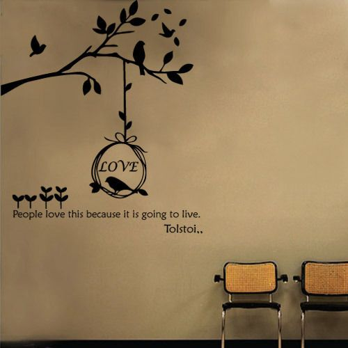Big Tree & Birds Adhesive WALL STICKER Removable Decal