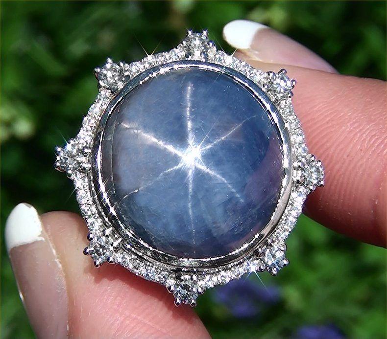 Estate Vintage 35.40 ct Natural Blue Star Sapphire Diamond Ring 14k
