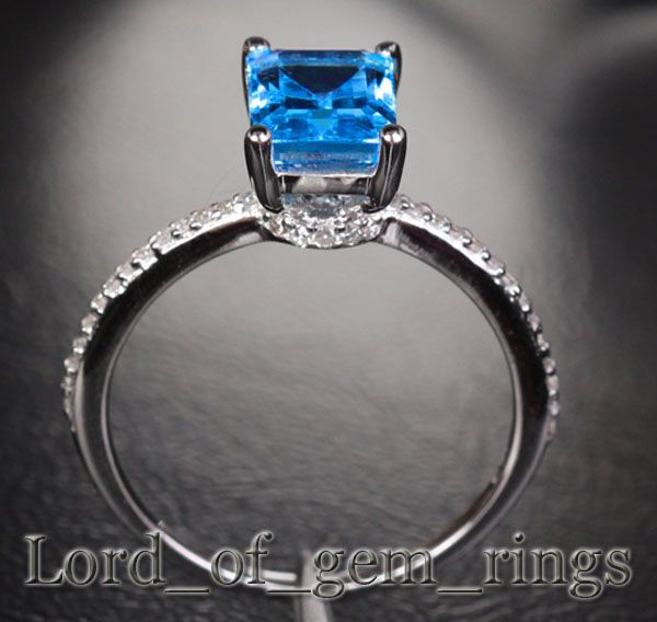 Emerald Cut BLUE TOPAZ & DIAMOND 2.12ct  Real 14K White GOLD Pave