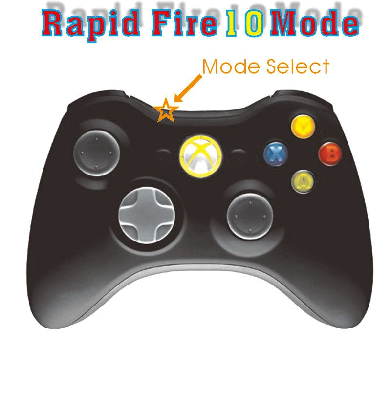 New Black Xbox 360 Rapid Fire Modded Controller 10mode