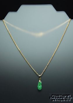 Chinese Apple Green Jadeite Jade Pendant, Gourd Carving with 14K Gold