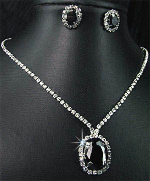 Wedding Bridal Bridesmaids Black Crystals Diamante Necklace Earrings