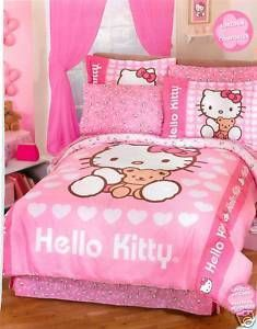 New Pink Hello Kitty Heart Sheet Set Full 4 PC