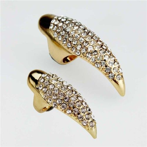 New Vintage punk gold claw Paw Talon ring finger nail rings full